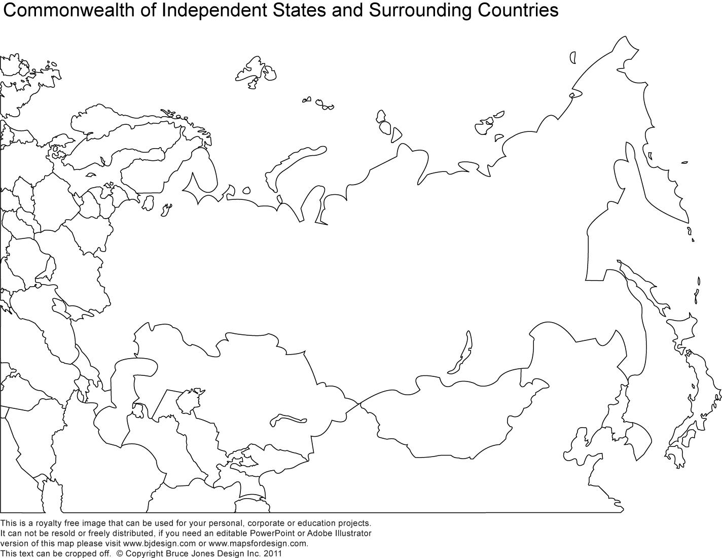 Blank map of Russia and surrounding countries - Blank map of ...