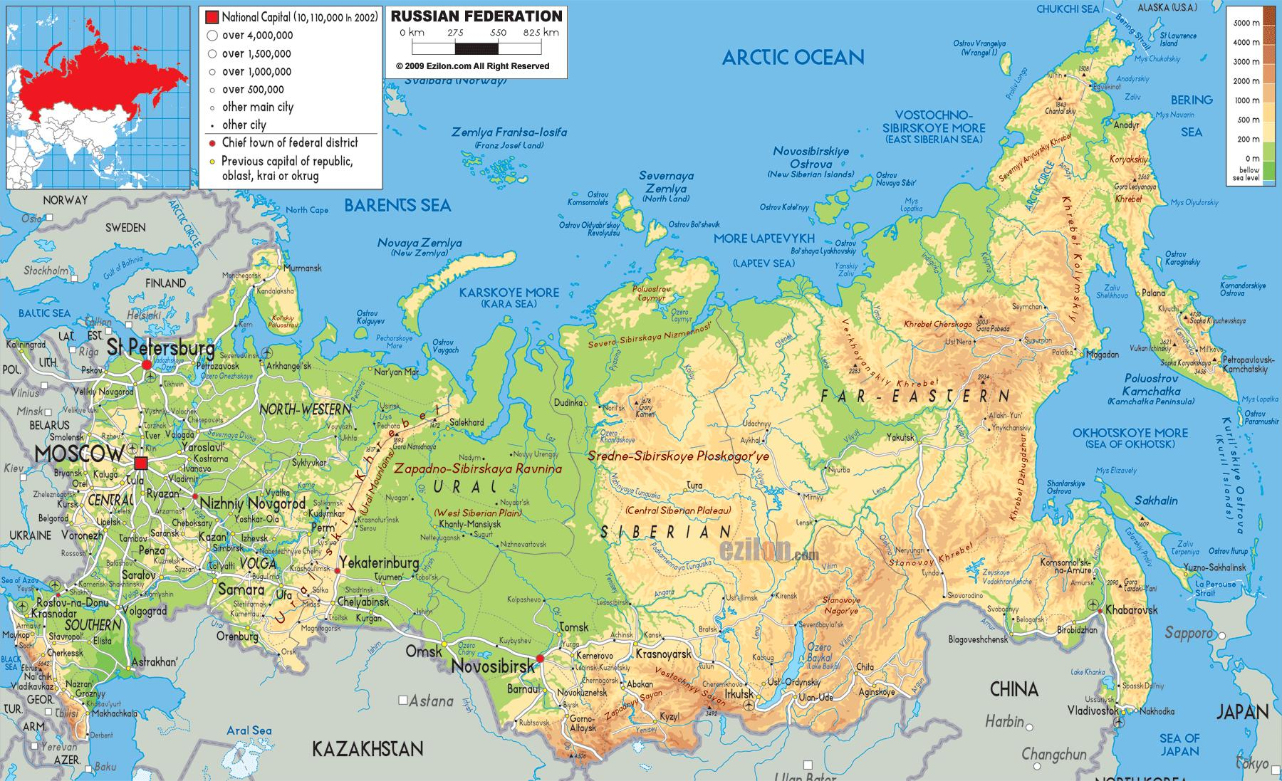 Map Of Russia Physical Features Physical Features Map Of Russia Eastern Europe Europe