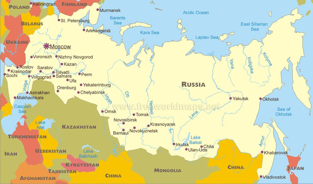 Map of Russian cities - Map Russian cities (Eastern Europe ...