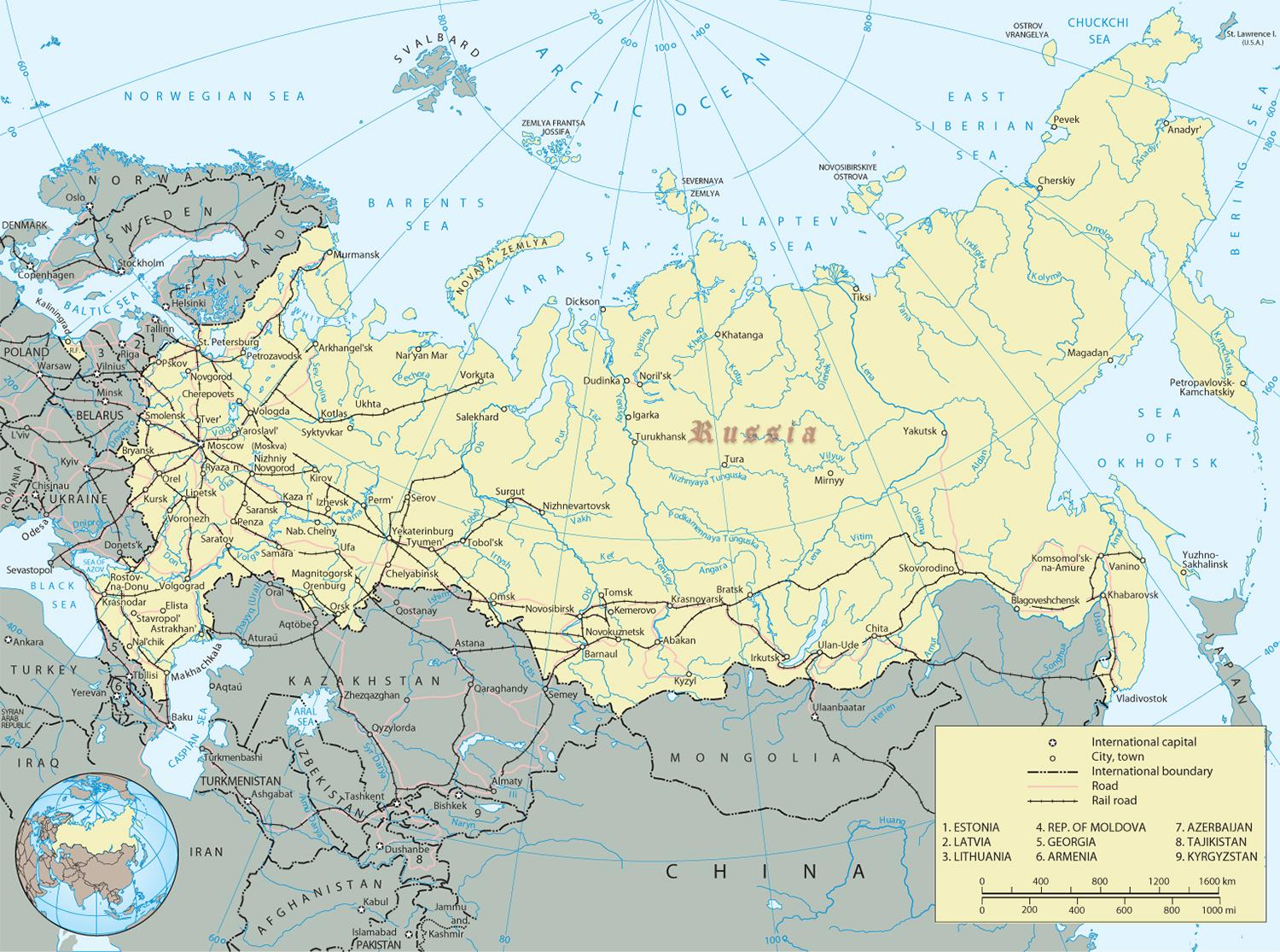 Image of: Map Of Russian Rivers And Mountains Russian Rivers And Mountains Map Eastern Europe Europe