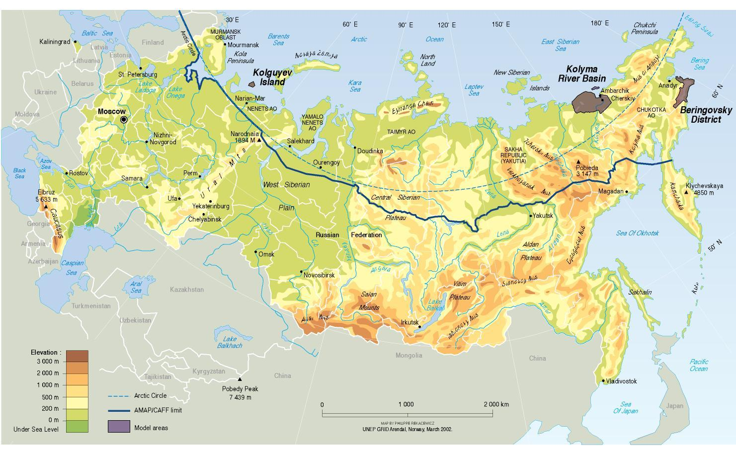 Physical Map Of Russia Physical Map Russia Eastern Europe Europe - Map of europe and russia physical