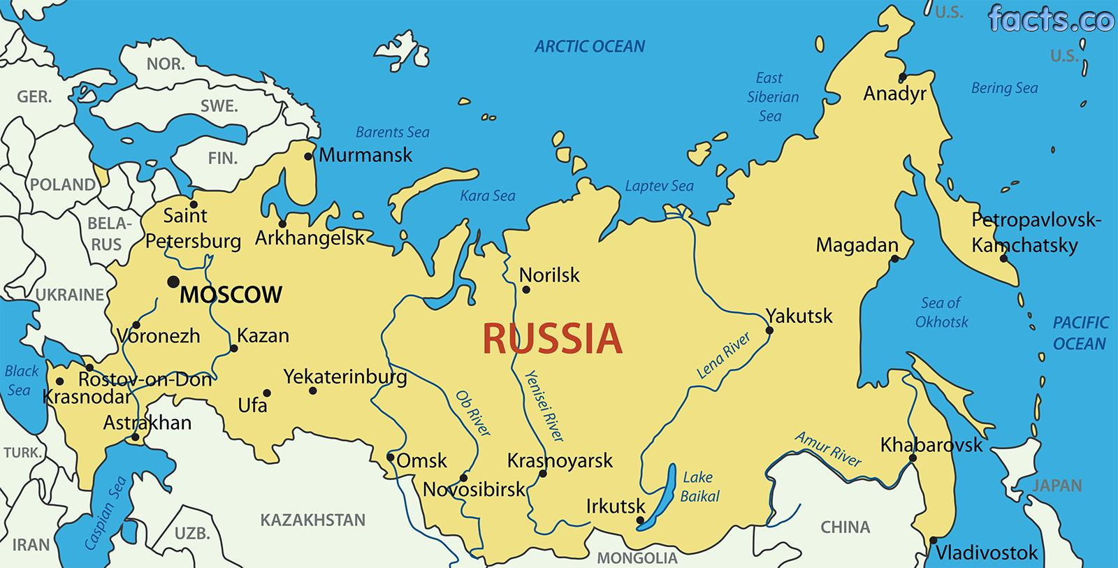 Russia Map Cities Cities Of Russia Map Eastern Europe Europe