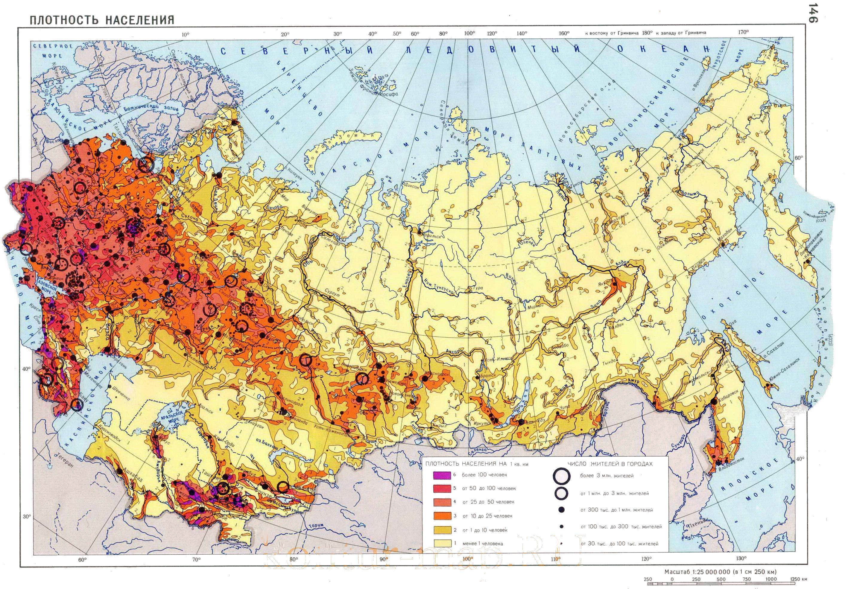 Russia population density map - Russia map population density (Eastern  Europe - Europe)