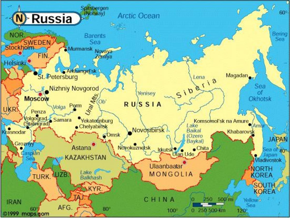 Map of Russia and surrounding countries - Russia and ...