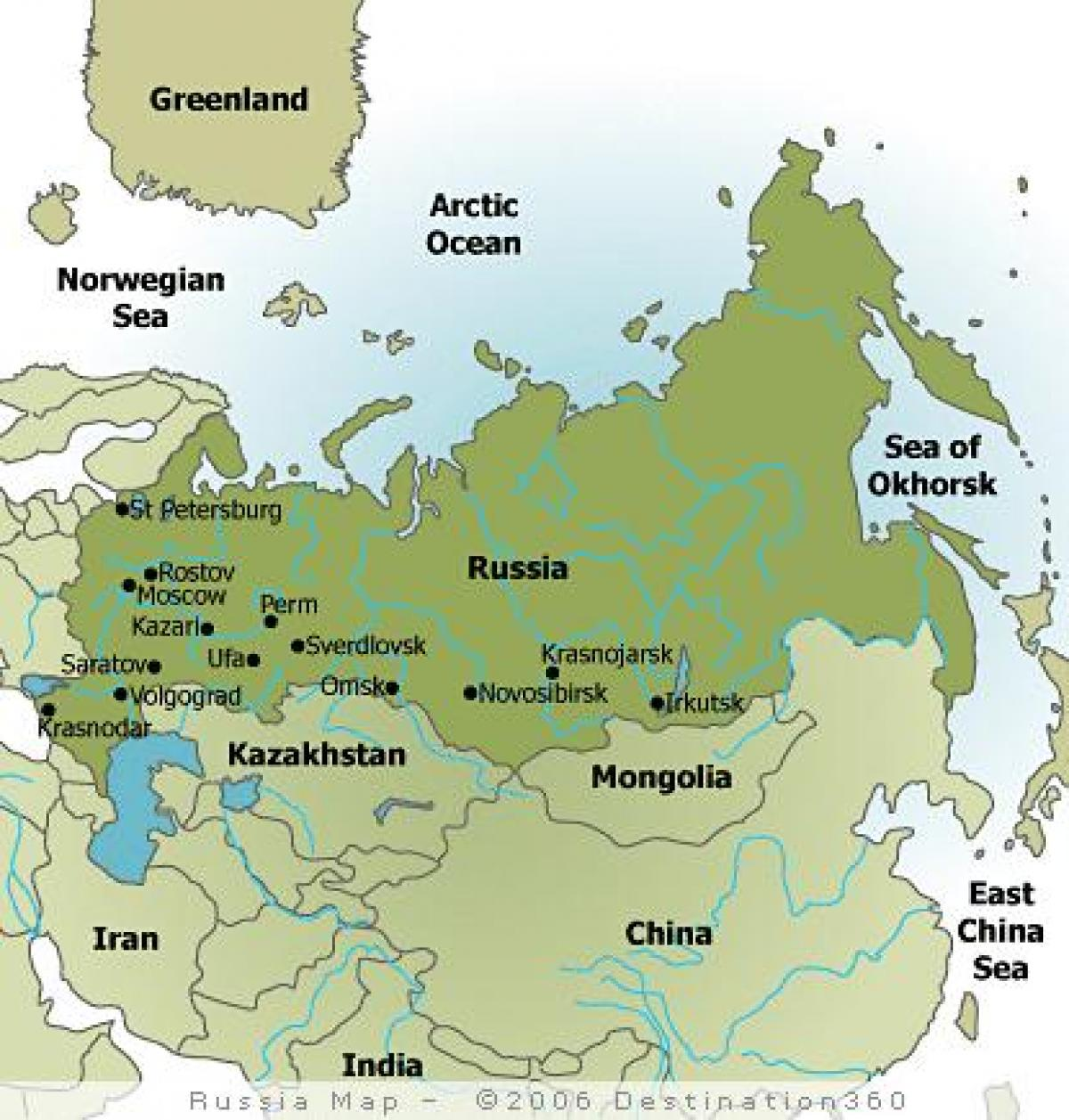 Map of Russia with cities - Map of cities in Russia (Eastern ...