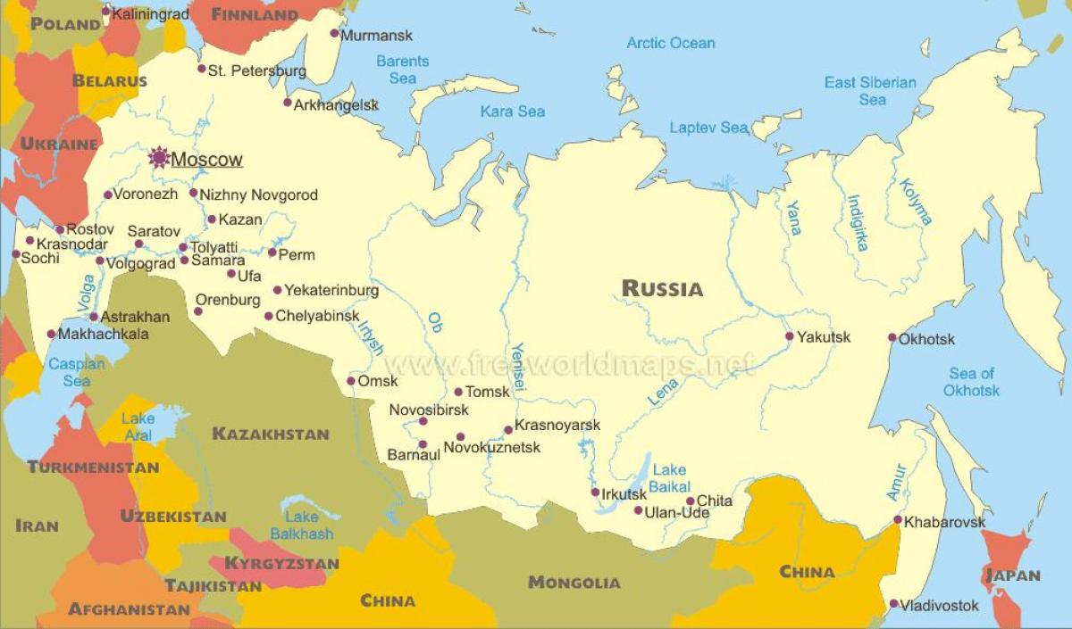 Map Of Russian Cities Map Russian Cities Eastern Europe Europe - Russian cities map