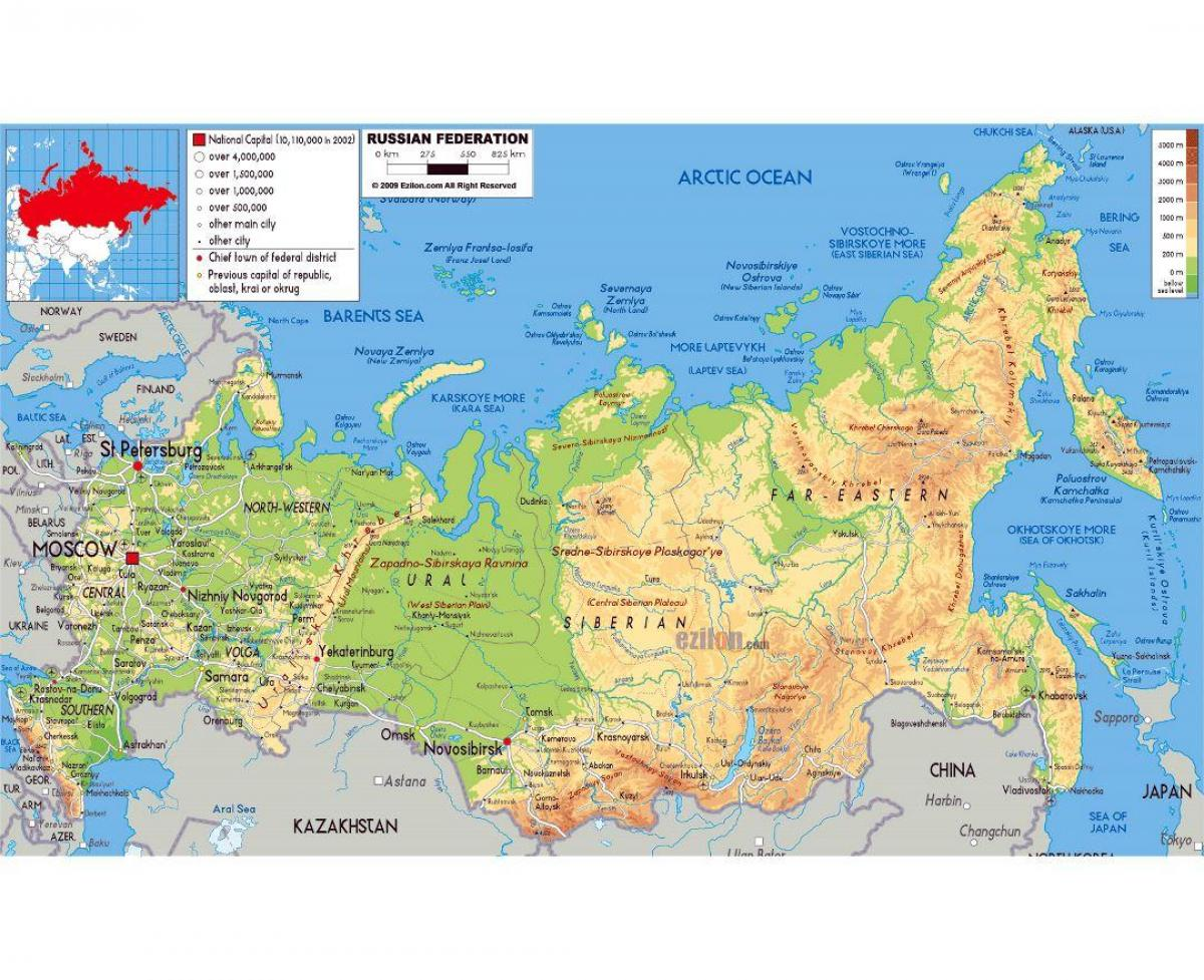 Russia And The Republics Physical Map Russia And Republics - Russia physical map