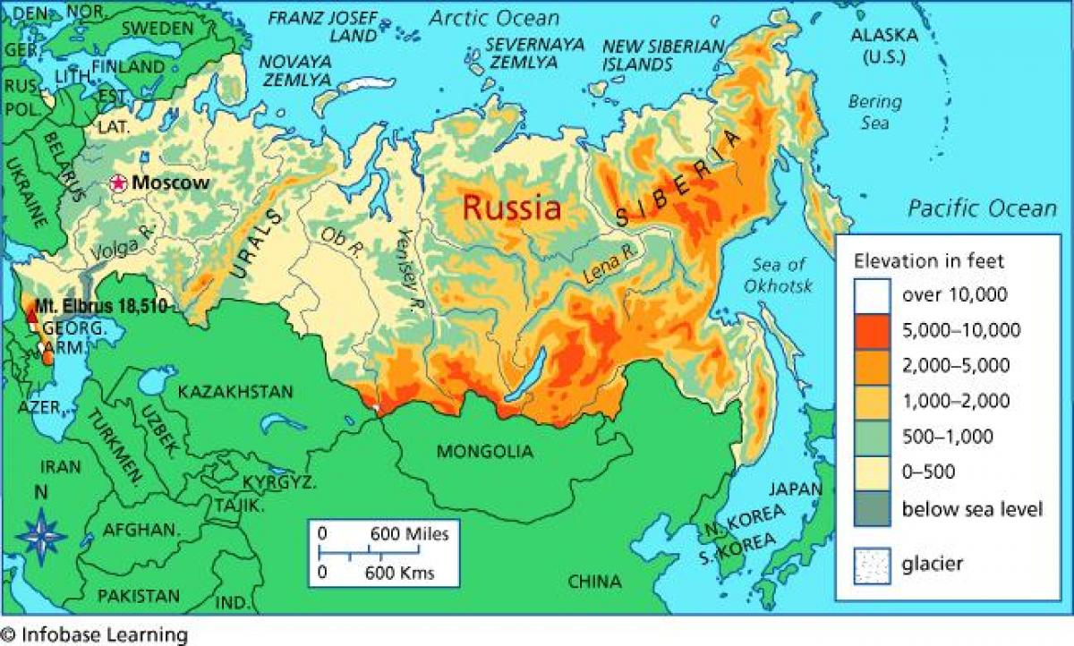 Russia elevation map   Elevation map of Russia (Eastern Europe