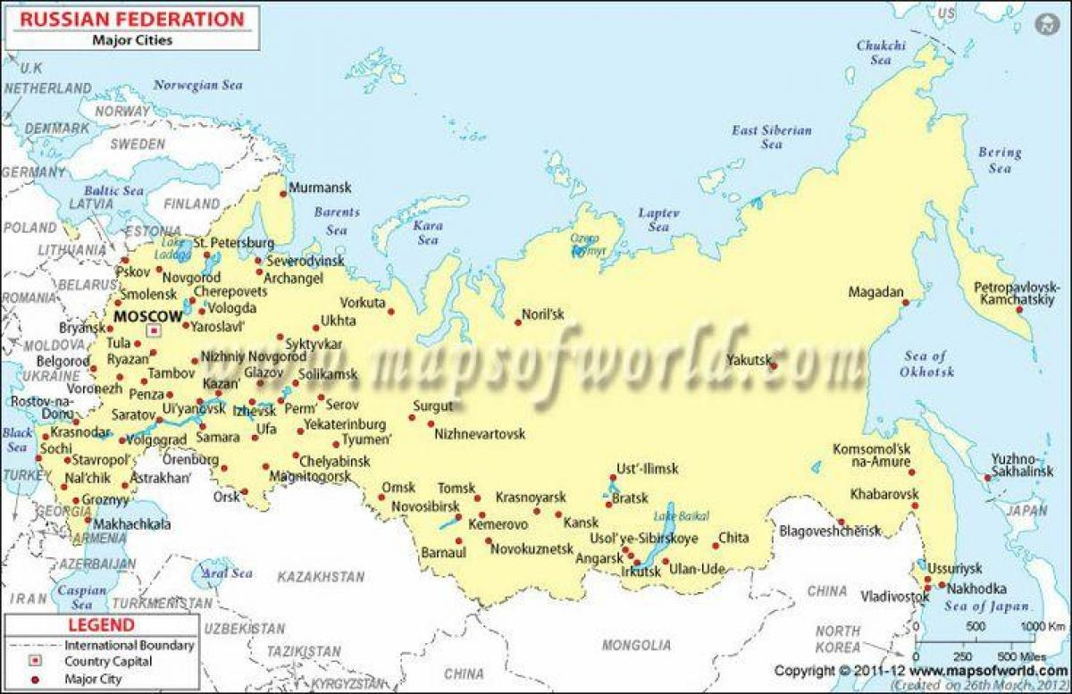 Russia Map With Cities Map Of Russia And Cities Eastern Europe - Russian cities map