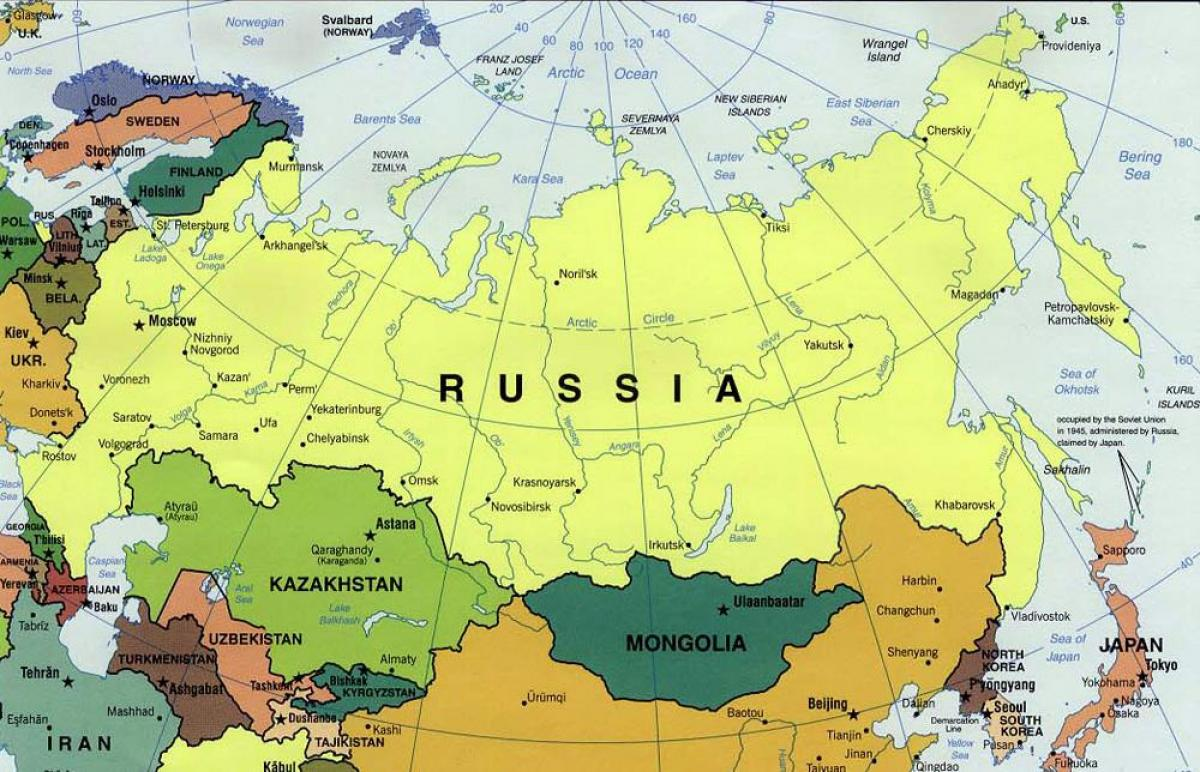 Russia on the map Map for Russia Eastern Europe Europe