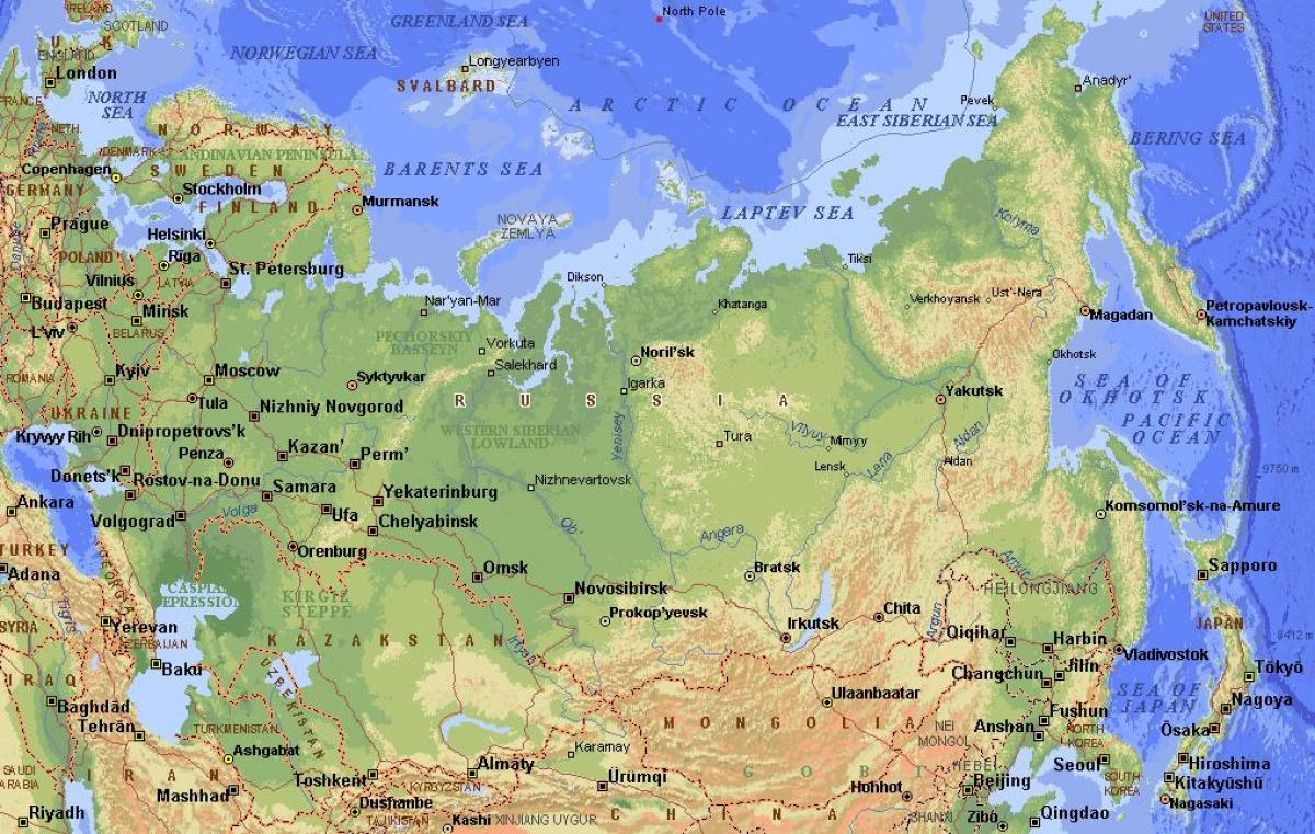 Image of: Russia Physical Features Map Physical Features Of Russia Map Eastern Europe Europe