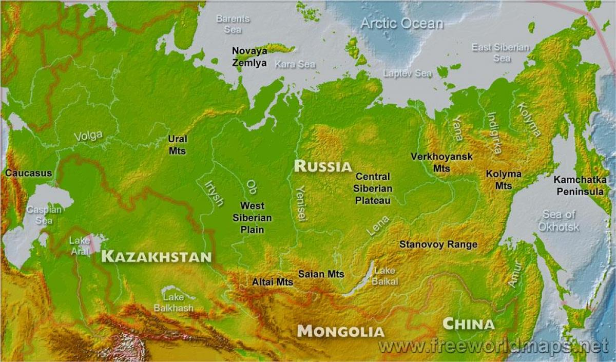 Image of: Russia Physical Map Russia Map Physical Eastern Europe Europe