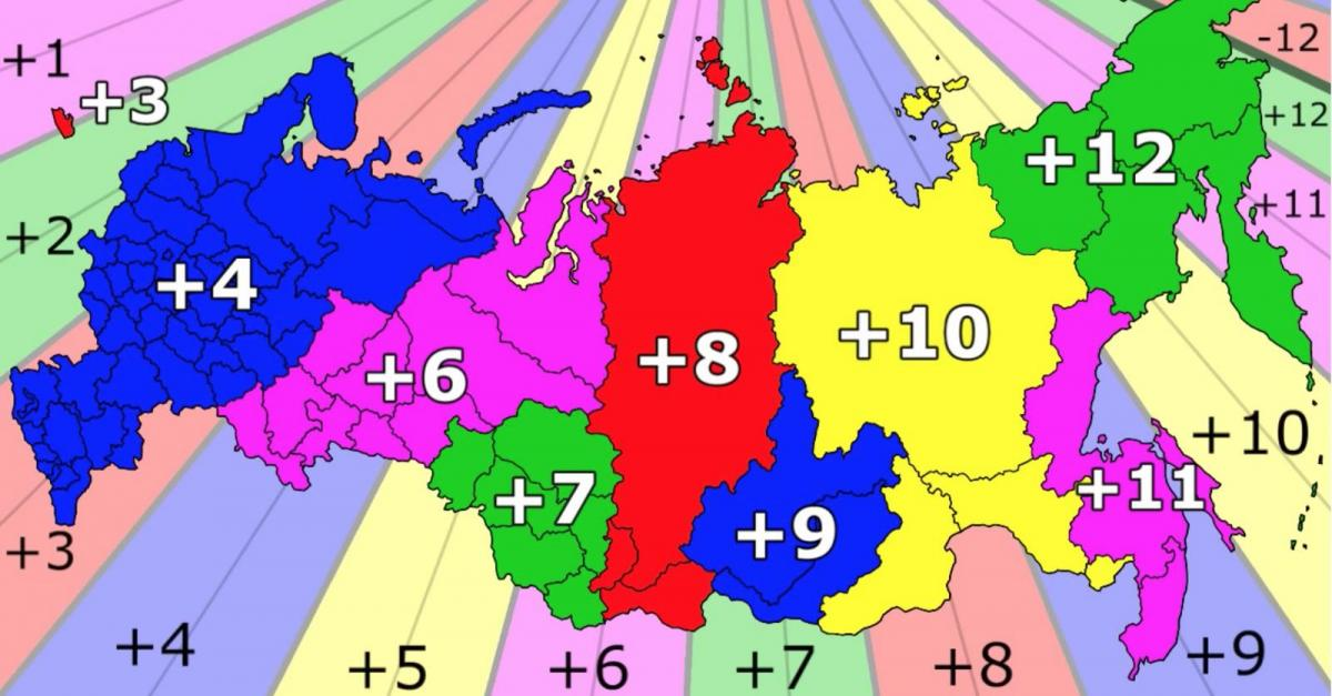 Russia time zone map - Time zones Russia map (Eastern Europe ...