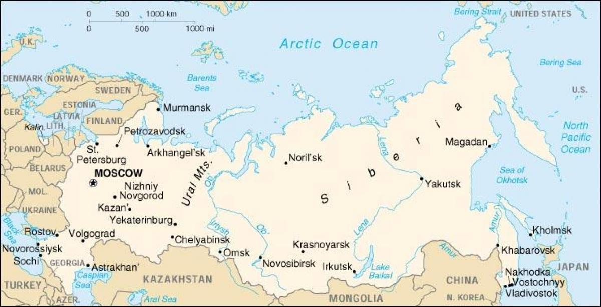 Russian borders map Russia border map Eastern Europe Europe