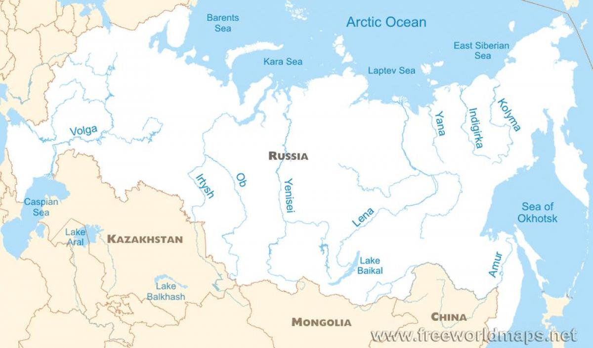 Image of: Russian River Map Russia Map Rivers Eastern Europe Europe