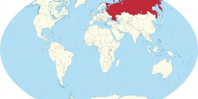 Russia on map of world
